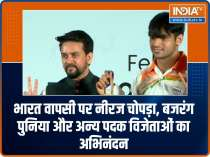 Tokyo Olympics 2020: Neeraj Chopra, Bajrang Punia and other medallists felicitated upon India return