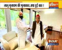 Lalu Yadav meets Mulayam Singh Yadav in presence of Akhilesh Yadav