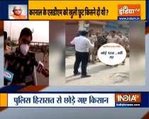 Haryana:  Police lathicharge farmers protesting in Karnal