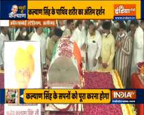 Mortal remains of former UP CM Kalyan Singh brought to Alirgarh, people pays their last respects