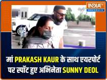 Actor Sunny Deol spotted at airport with mom Prakash Kaur