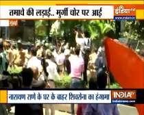 Shiv Sena workers protest outside Narayan Rane