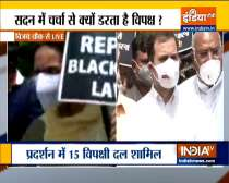 Opposition leaders march towards Vijay Chowk from Parliament