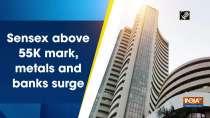 Sensex above 55K mark, metals and banks surge