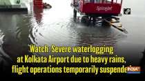 Watch Severe waterlogging at Kolkata Airport due to heavy rains, flight operations temporarily suspended