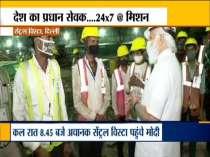 Prime Minister Narendra Modi visits construction site of Central Vista project