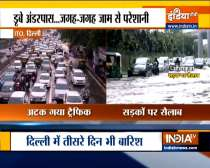 Streets heavily waterlogged in Delhi following downpour
