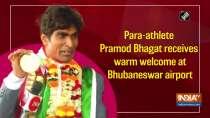 Para-athlete Pramod Bhagat receives grand welcome at Bhubaneswar airport