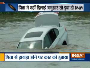 Video: Angry Haryana youth pushes BMW in river after father denies his new Jaguar Car request
