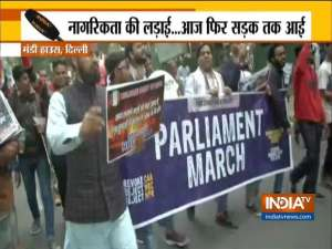 Protest march held from Mandi House to Parliament House against CAA and NRC