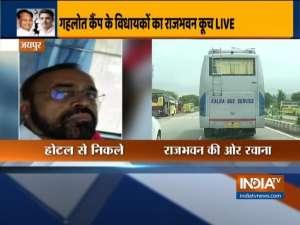 Congress MLAs supporting CM Ashok Gehlot leaves hotel to meet Governor at Raj Bhawan
