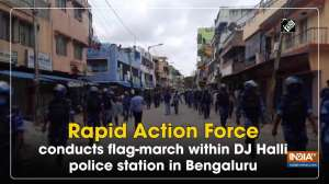 Rapid Action Force conducts flag-march within DJ Halli police station in Bengaluru