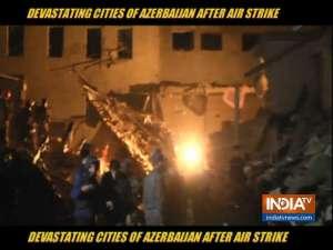 Devastated cities of Azerbaijan after air strike