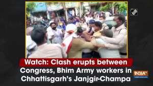 Watch: Clash erupts between Congress, Bhim Army workers in Chhattisgarh's Janjgir-Champa