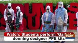 Watch: Students perform 'Garba' donning designer PPE kits