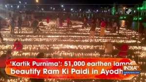 'Kartik Purnima': 51,000 earthen lamps beautify Ram Ki Paidi in Ayodhya