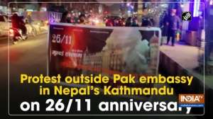 Protest outside Pak embassy in Nepal's Kathmandu on 26/11 anniversary