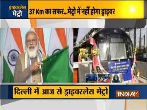 Delhi: PM Modi flags off driverless train operations on Metro's Magenta Line