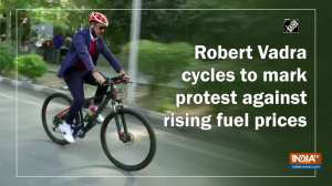 Robert Vadra cycles to mark protest against rising fuel prices
