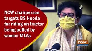 NCW chairperson targets BS Hooda for riding on tractor being pulled by women MLAs