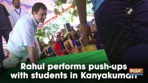 Rahul performs push-ups with students in Kanyakumari