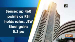 Sensex up 460 points as RBI holds rates, JSW Steel gains 5.3 pc