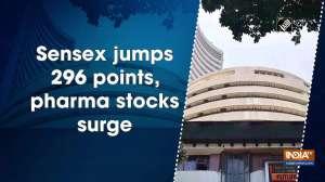 Sensex jumps 296 points, pharma stocks surge