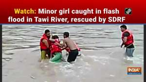 Watch: Minor girl caught in flash flood in Tawi River, rescued by SDRF
