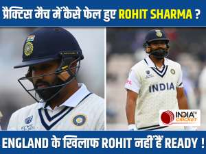 Captain Rohit Sharma walks back after scoring just 9 in practice game against County Select XI