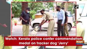 Watch: Kerala police confer commendation medal on tracker dog 'Jerry'