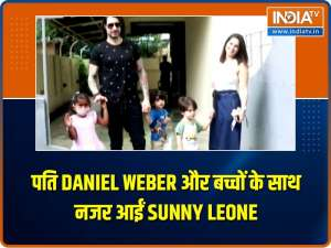 Sunny Leone clicked with husband Daniel Weber and their three adorable kids