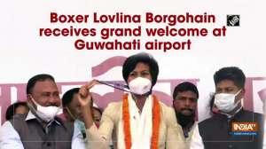 Boxer Lovlina Borgohain receives grand welcome at Guwahati airport