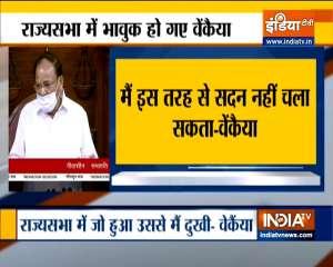 Rajya Sabha chairman Venkaiah Naidu breaks down cver Tuesday's ruckus