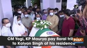 CM Yogi, KP Maurya pay floral tribute to Kalyan Singh at his residence