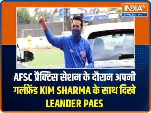 Leander Paes spotted with his girlfriend Kim Sharma at AFC practice session