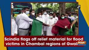 Scindia flags off relief material for flood victims in Chambal regions of Gwalior