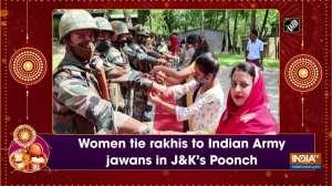 Women tie rakhis to Indian Army jawans in JandK's Poonch