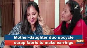Mother-daughter duo upcycle scrap fabric to make earrings