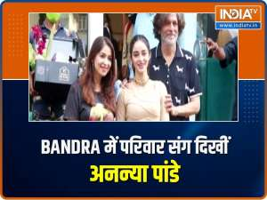 Actress Ananya Panday steps out for shoot with parents Chunky, Bhavana