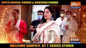 Divya Khosal kumar,  Bhushan Kumar,  Daisy shah celebrate Ganesh Chaturthi