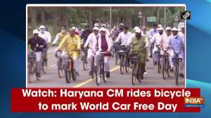 Watch: Haryana CM rides bicycle to mark World Car Free Day