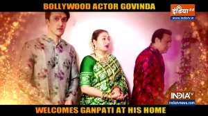 Govinda welcomes Ganpati Bappa at his home with his family