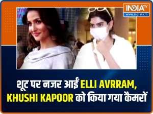 Elli Avram snapped at shoot; paparazzi click Khushi Kapoor at airport