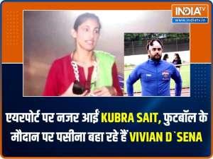 Kubra Sait spotted at airport, Vivian Dsena sweats it out on football ground