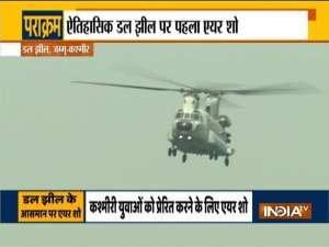 Indian Air Force organize air show over Dal Lake in Srinagar