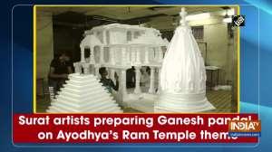 Surat artists preparing Ganesh pandal on Ayodhya's Ram Temple theme
