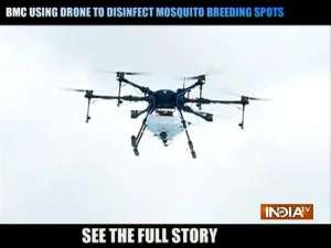 BMC using Drone to disinfect mosquito breeding Spots